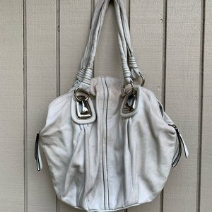 White Leather Bucket Bag